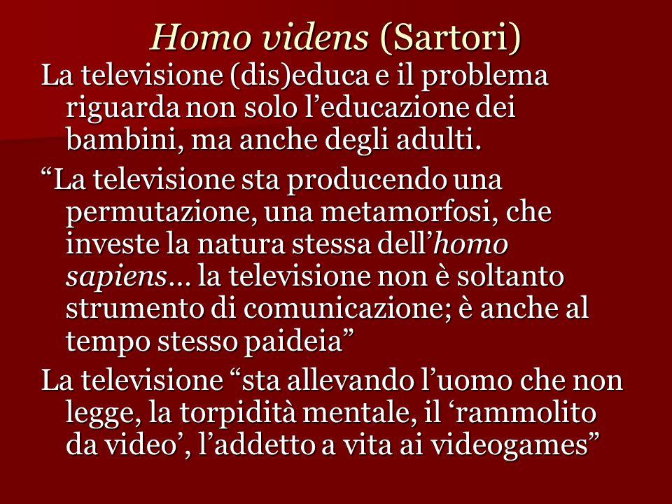 """Homo videns (Sartori)  La televisione (dis)educa e il problema riguarda non solo l'educazione dei bambini, ma anche degli adulti. """"La televisione sta"""