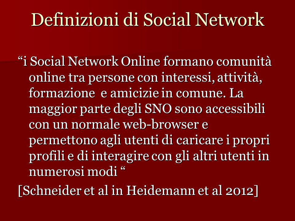 """Definizioni di Social Network """"i Social Network Online formano comunità online tra persone con interessi, attività, formazione e amicizie in comune. L"""
