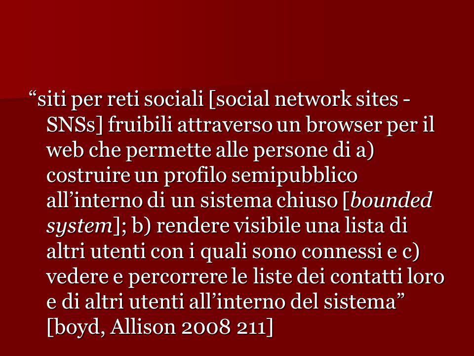 """""""siti per reti sociali [social network sites - SNSs] fruibili attraverso un browser per il web che permette alle persone di a) costruire un profilo se"""