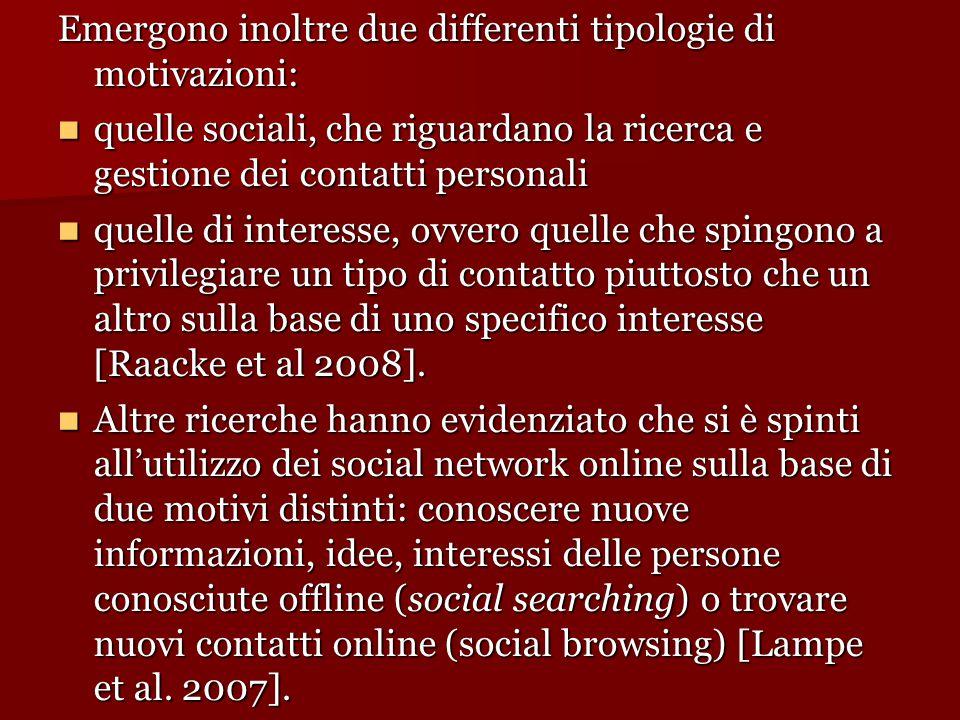 Emergono inoltre due differenti tipologie di motivazioni: quelle sociali, che riguardano la ricerca e gestione dei contatti personali quelle sociali,
