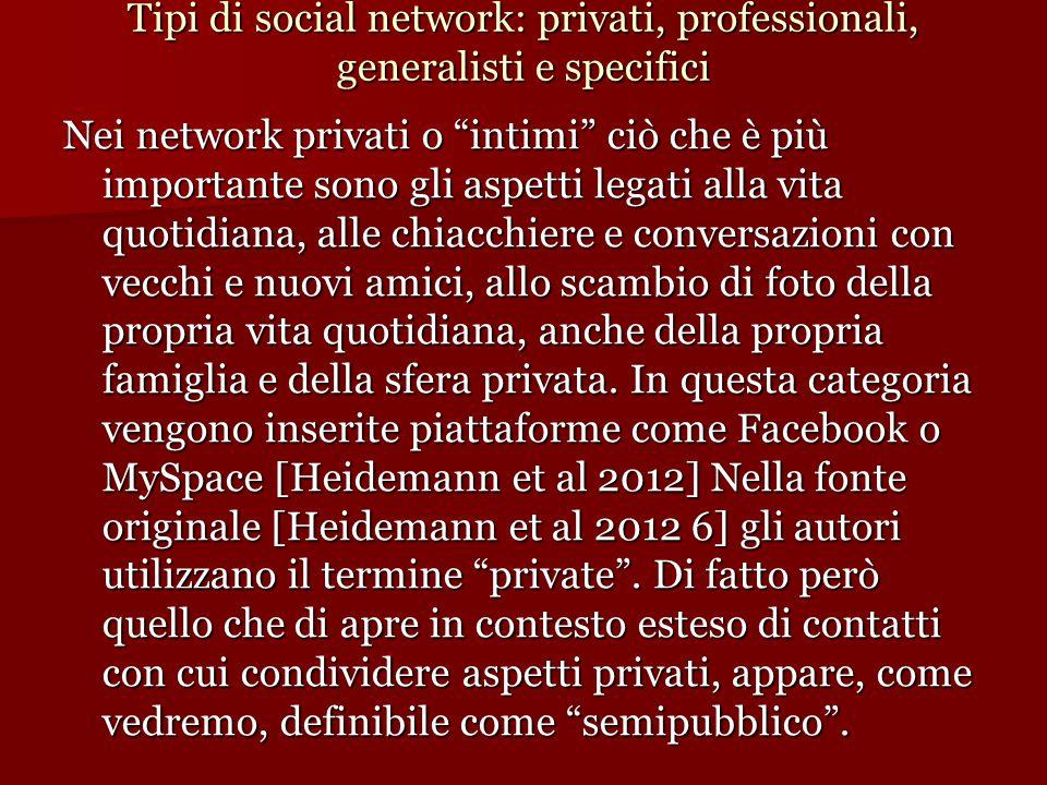 """Tipi di social network: privati, professionali, generalisti e specifici Nei network privati o """"intimi"""" ciò che è più importante sono gli aspetti legat"""