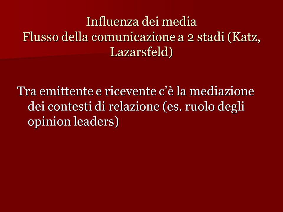 Influenza dei media Flusso della comunicazione a 2 stadi (Katz, Lazarsfeld) Tra emittente e ricevente c'è la mediazione dei contesti di relazione (es.