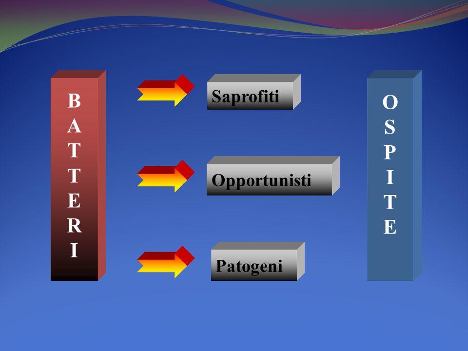 BATTERIBATTERI OSPITEOSPITE Saprofiti Opportunisti Patogeni
