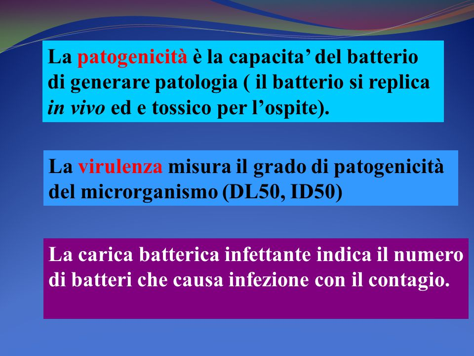 La patogenicità è la capacita' del batterio di generare patologia ( il batterio si replica in vivo ed e tossico per l'ospite).