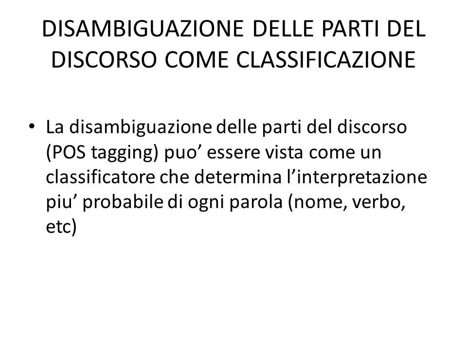ESEMPIO DI CLASSIFICAZIONE: DOCUMENT CLASSIFICATION (NLTK book, p. 227-228)
