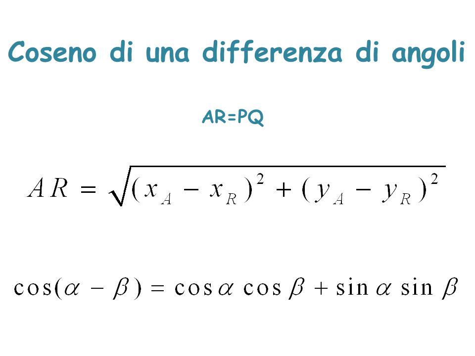 AR=PQ Coseno di una differenza di angoli