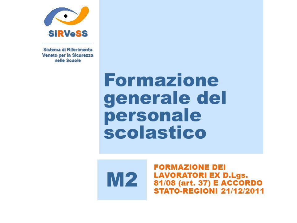 Formazione generale del personale scolastico SiRVeSS Sistema di Riferimento Veneto per la Sicurezza nelle Scuole M2 FORMAZIONE DEI LAVORATORI EX D.Lgs