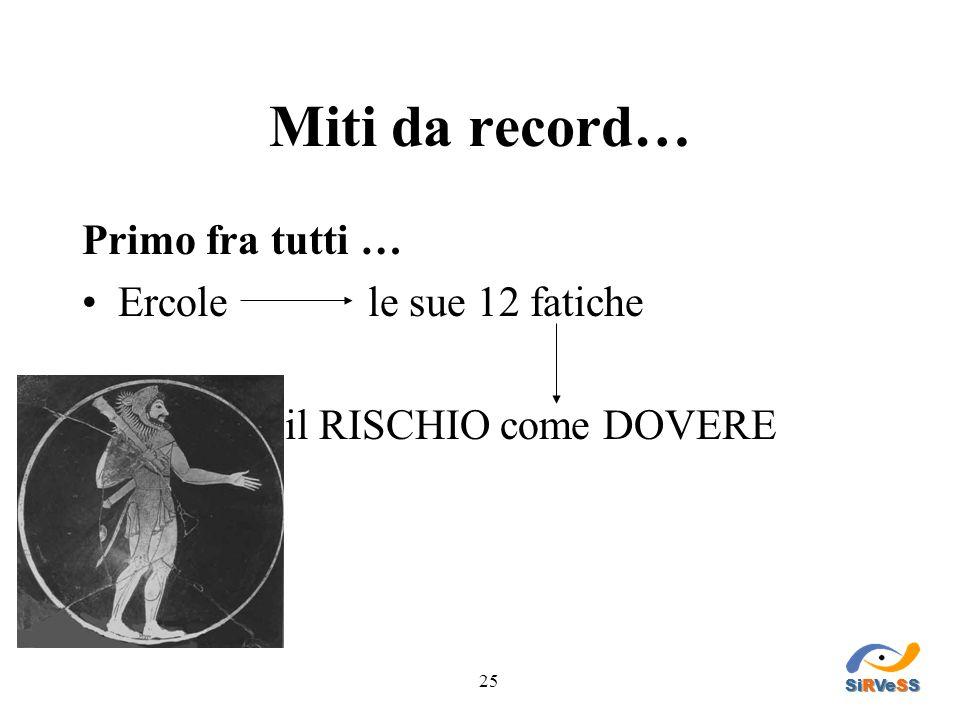 25 Miti da record… Primo fra tutti … Ercole le sue 12 fatiche il RISCHIO come DOVERE SiRVeSS