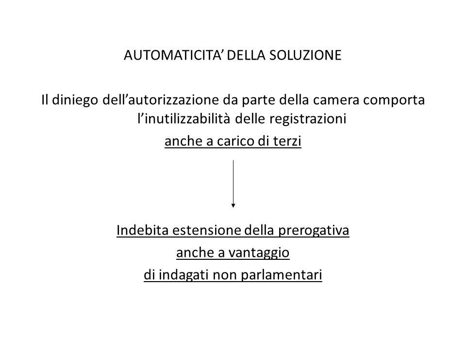 AUTOMATICITA' DELLA SOLUZIONE Il diniego dell'autorizzazione da parte della camera comporta l'inutilizzabilità delle registrazioni anche a carico di t