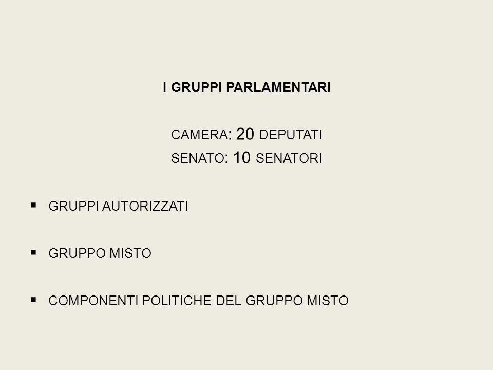 I GRUPPI PARLAMENTARI CAMERA : 20 DEPUTATI SENATO : 10 SENATORI  GRUPPI AUTORIZZATI  GRUPPO MISTO  COMPONENTI POLITICHE DEL GRUPPO MISTO