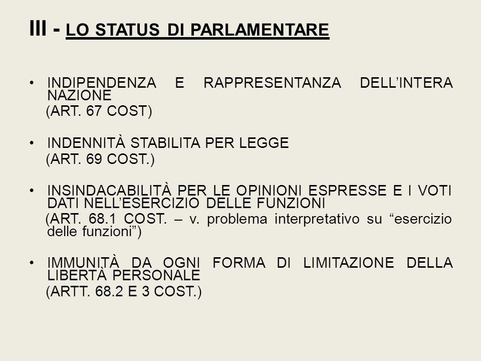 III - LO STATUS DI PARLAMENTARE INDIPENDENZA E RAPPRESENTANZA DELL'INTERA NAZIONE (ART. 67 COST) INDENNITÀ STABILITA PER LEGGE (ART. 69 COST.) INSINDA