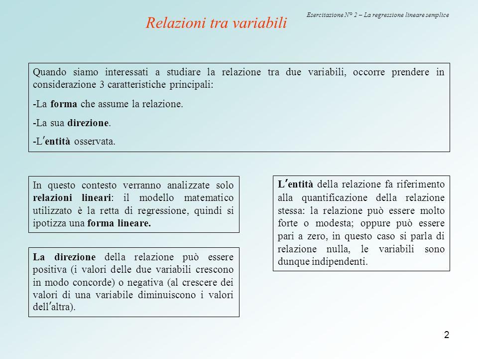 2 Esercitazione N° 2 – La regressione lineare semplice Relazioni tra variabili Quando siamo interessati a studiare la relazione tra due variabili, occ