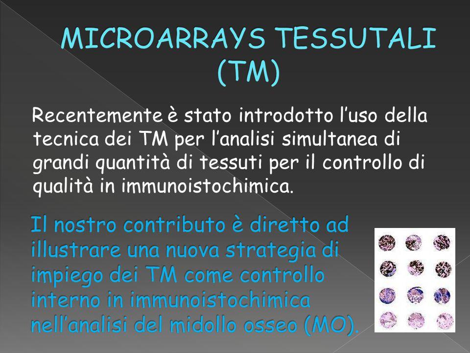  Prescelto tessuto tonsillare come controllo ottimale per il MO  Studio preliminare per valutare il calibro del core tonsillare affinché contenga almeno un follicolo linfatico circondato da un'area interfollicolare, in tre serie di 50 cores tonsillari 3  2 4  2 8  4 N° medio follicoli 2 mm 3mm 4mm Calibro core