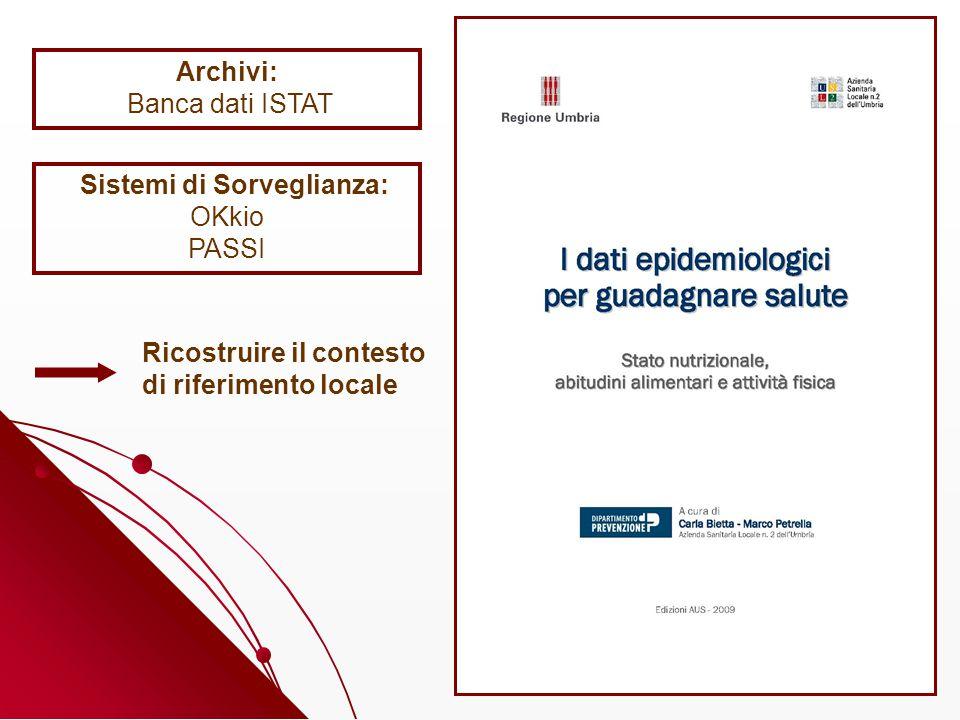 Archivi: Banca dati ISTAT Sistemi di Sorveglianza: OKkio PASSI Ricostruire il contesto di riferimento locale