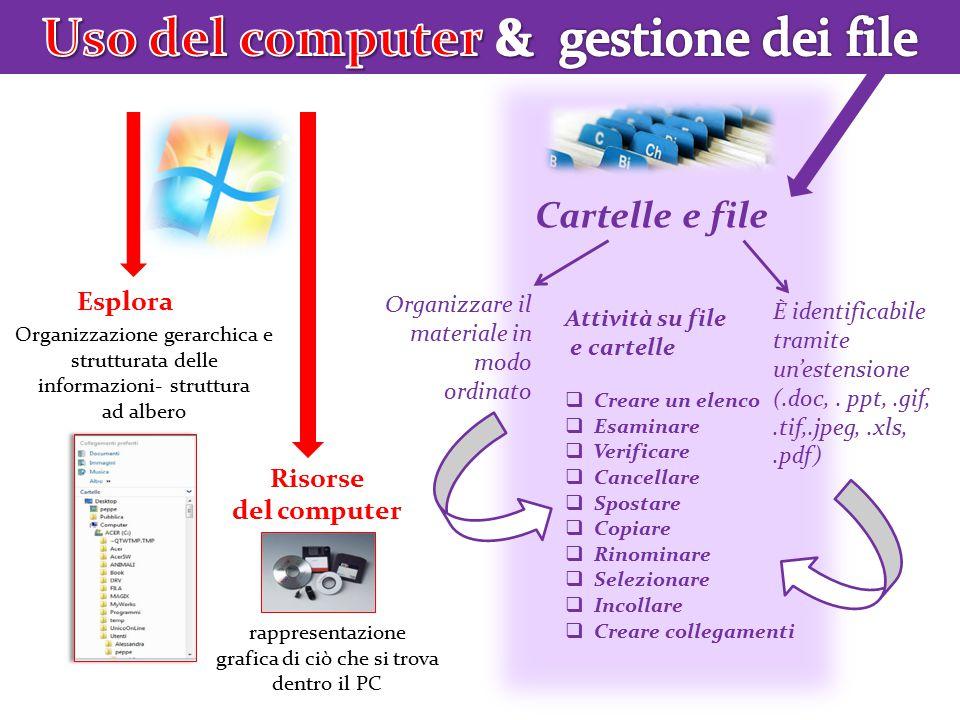 Cartelle e file Risorse del computer Esplora Organizzazione gerarchica e strutturata delle informazioni- struttura ad albero rappresentazione grafica