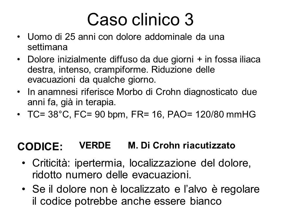 Caso clinico 3 Uomo di 25 anni con dolore addominale da una settimana Dolore inizialmente diffuso da due giorni + in fossa iliaca destra, intenso, cra