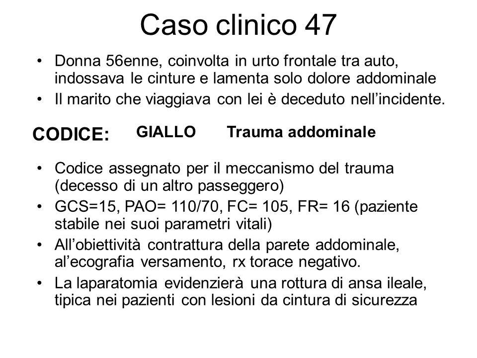 Caso clinico 47 Donna 56enne, coinvolta in urto frontale tra auto, indossava le cinture e lamenta solo dolore addominale Il marito che viaggiava con l