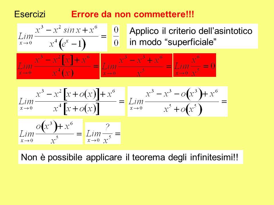 """Esercizi Errore da non commettere!!! Applico il criterio dell'asintotico in modo """"superficiale"""" Non è possibile applicare il teorema degli infinitesim"""