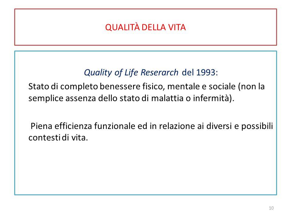 QUALITÀ DELLA VITA Quality of Life Reserarch del 1993: Stato di completo benessere fisico, mentale e sociale (non la semplice assenza dello stato di m