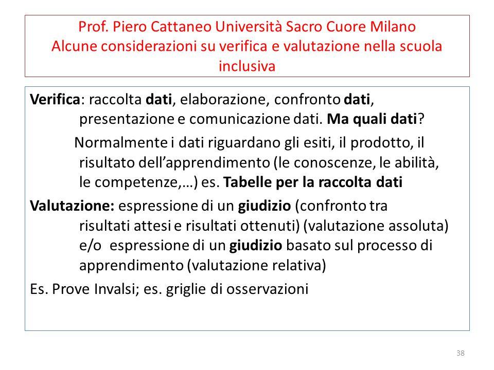 38 Prof. Piero Cattaneo Università Sacro Cuore Milano Alcune considerazioni su verifica e valutazione nella scuola inclusiva Verifica: raccolta dati,