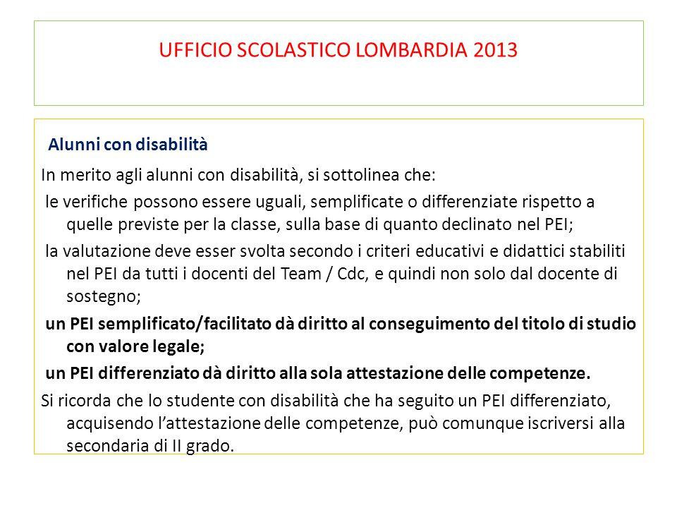 UFFICIO SCOLASTICO LOMBARDIA 2013 Alunni con disabilità In merito agli alunni con disabilità, si sottolinea che: le verifiche possono essere uguali, s