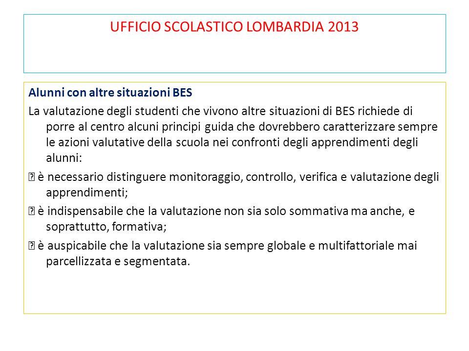 UFFICIO SCOLASTICO LOMBARDIA 2013 Alunni con altre situazioni BES La valutazione degli studenti che vivono altre situazioni di BES richiede di porre a