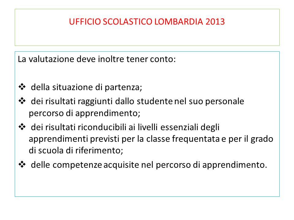UFFICIO SCOLASTICO LOMBARDIA 2013 La valutazione deve inoltre tener conto:  della situazione di partenza;  dei risultati raggiunti dallo studente ne