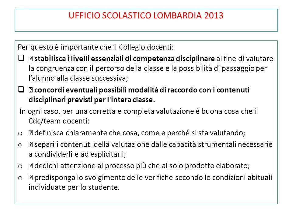 UFFICIO SCOLASTICO LOMBARDIA 2013 Per questo è importante che il Collegio docenti:  stabilisca i livelli essenziali di competenza disciplinare al fin