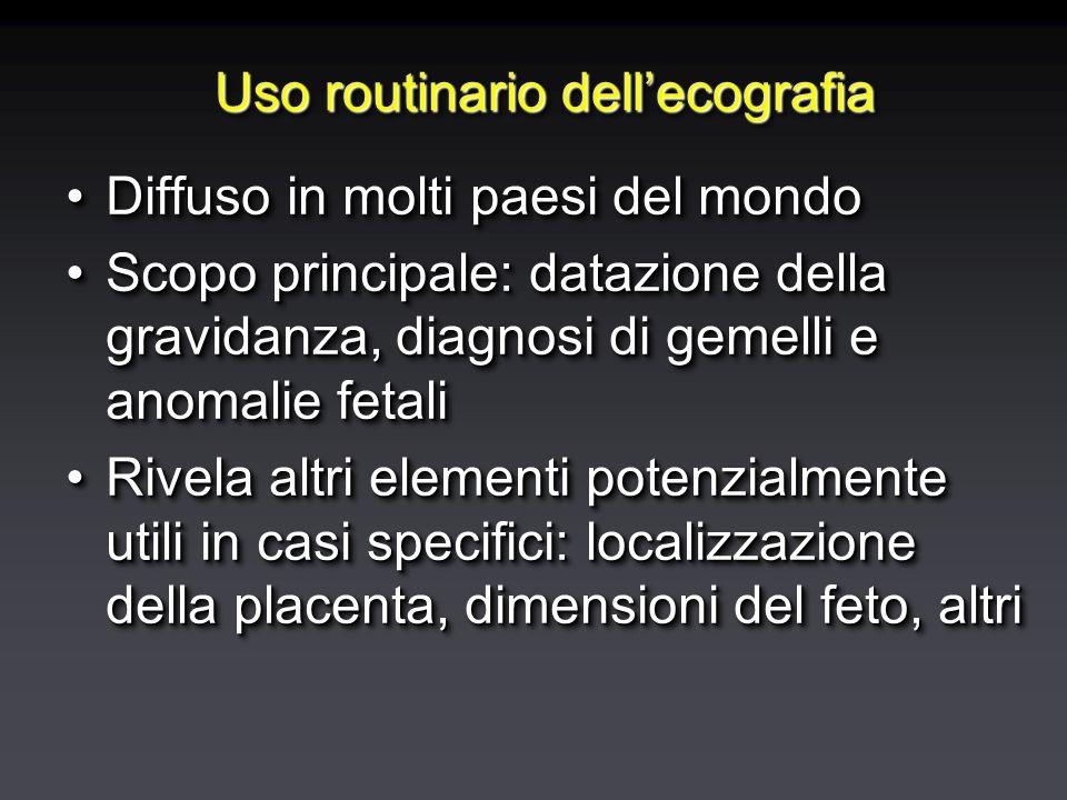 Uso routinario dell'ecografia Diffuso in molti paesi del mondoDiffuso in molti paesi del mondo Scopo principale: datazione della gravidanza, diagnosi