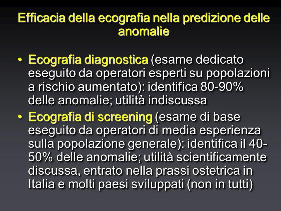 Efficacia della ecografia nella predizione delle anomalie Ecografia diagnostica (esame dedicato eseguito da operatori esperti su popolazioni a rischio