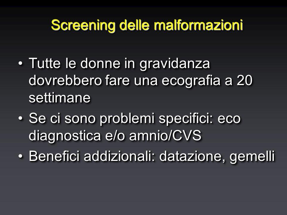 Screening delle malformazioni Tutte le donne in gravidanza dovrebbero fare una ecografia a 20 settimaneTutte le donne in gravidanza dovrebbero fare una ecografia a 20 settimane Se ci sono problemi specifici: eco diagnostica e/o amnio/CVSSe ci sono problemi specifici: eco diagnostica e/o amnio/CVS Benefici addizionali: datazione, gemelliBenefici addizionali: datazione, gemelli Tutte le donne in gravidanza dovrebbero fare una ecografia a 20 settimaneTutte le donne in gravidanza dovrebbero fare una ecografia a 20 settimane Se ci sono problemi specifici: eco diagnostica e/o amnio/CVSSe ci sono problemi specifici: eco diagnostica e/o amnio/CVS Benefici addizionali: datazione, gemelliBenefici addizionali: datazione, gemelli