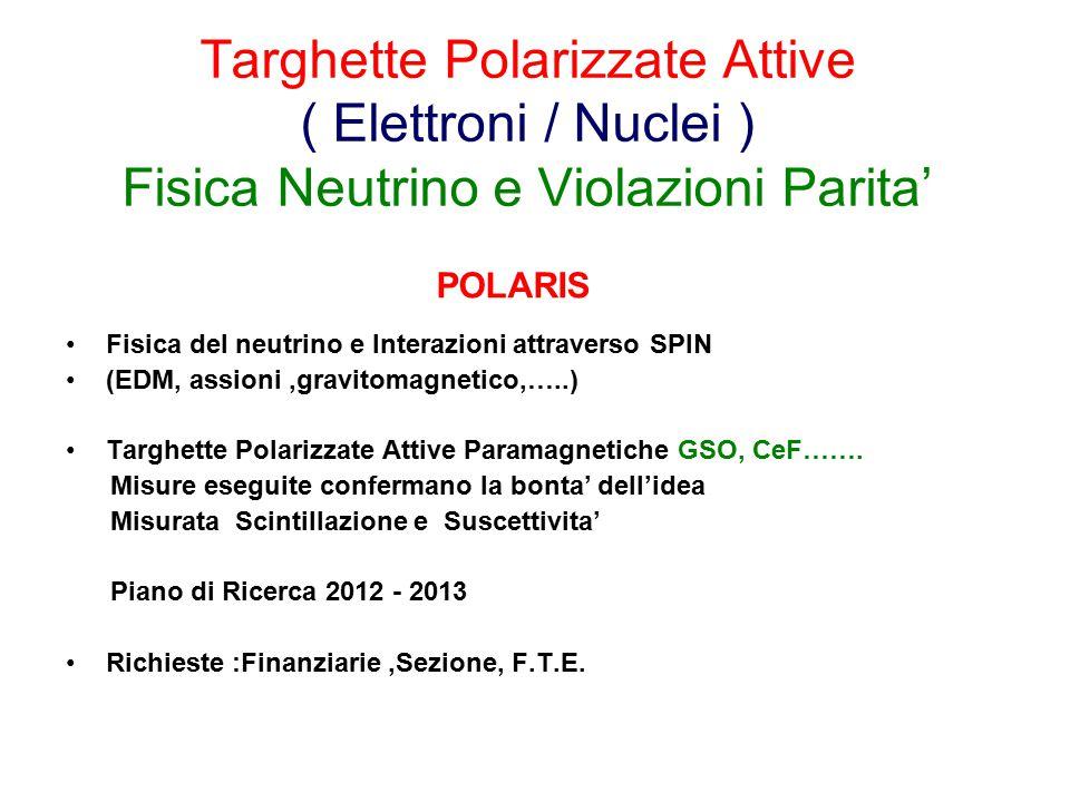 Targhette Polarizzate Attive ( Elettroni / Nuclei ) Fisica Neutrino e Violazioni Parita' Fisica del neutrino e Interazioni attraverso SPIN (EDM, assioni,gravitomagnetico,…..) Targhette Polarizzate Attive Paramagnetiche GSO, CeF…….