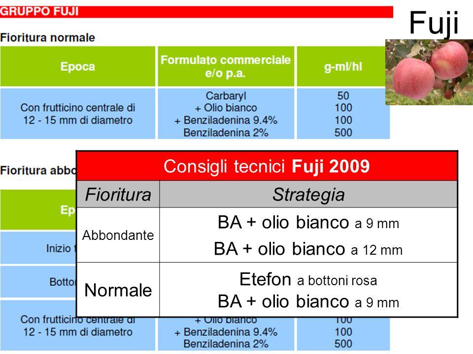 Fuji Consigli tecnici Fuji 2009 FiorituraStrategia Abbondante BA + olio bianco a 9 mm BA + olio bianco a 12 mm Normale Etefon a bottoni rosa BA + olio
