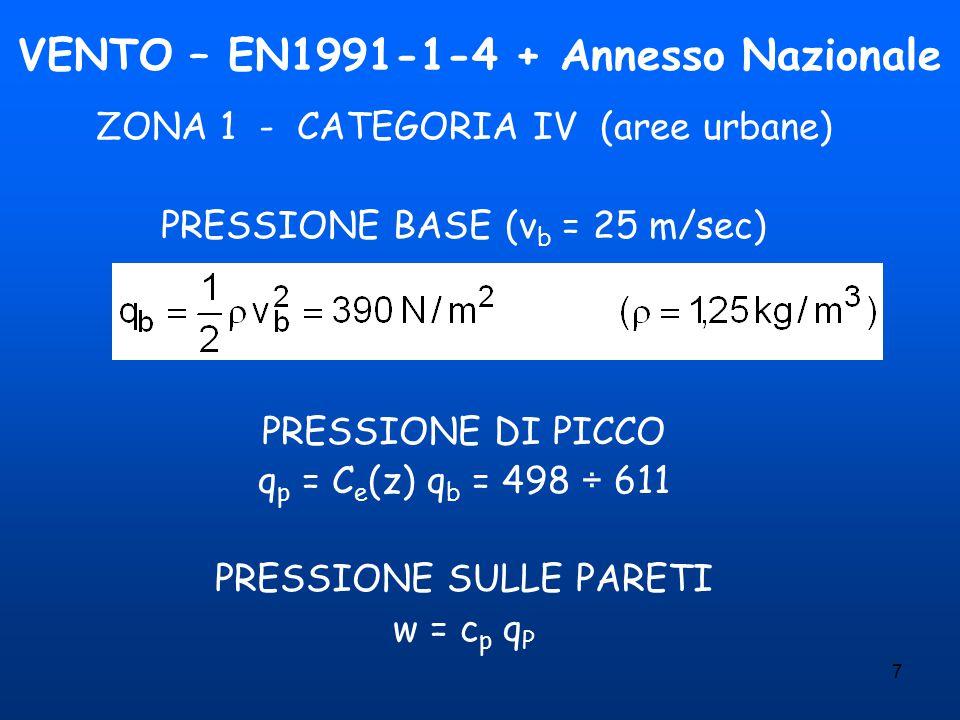 7 VENTO – EN1991-1-4 + Annesso Nazionale ZONA 1 - CATEGORIA IV (aree urbane) PRESSIONE BASE (v b = 25 m/sec) PRESSIONE DI PICCO q p = C e (z) q b = 498 ÷ 611 PRESSIONE SULLE PARETI w = c p q P
