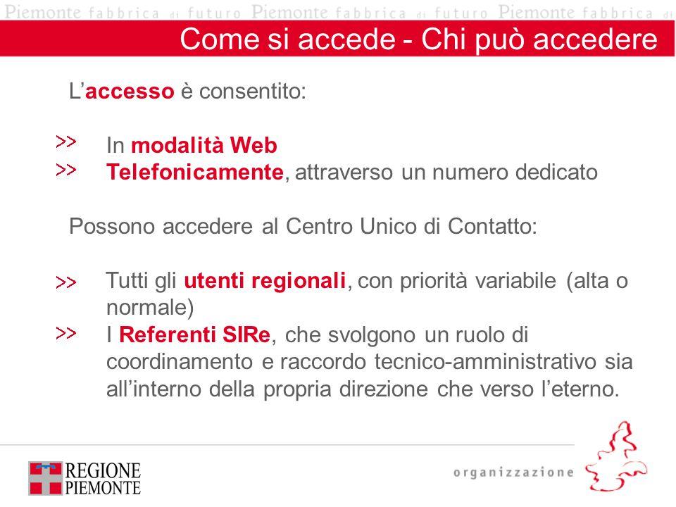 Come si accede - Chi può accedere L'accesso è consentito: In modalità Web Telefonicamente, attraverso un numero dedicato Possono accedere al Centro Un