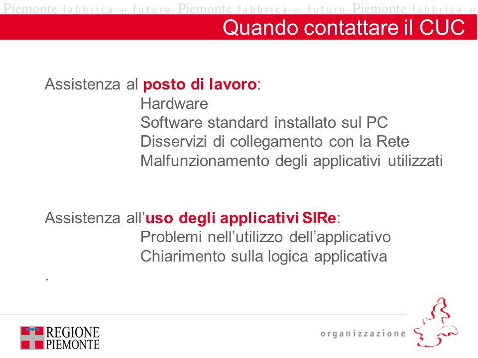 Quando contattare il CUC Assistenza al posto di lavoro: Hardware Software standard installato sul PC Disservizi di collegamento con la Rete Malfunzion
