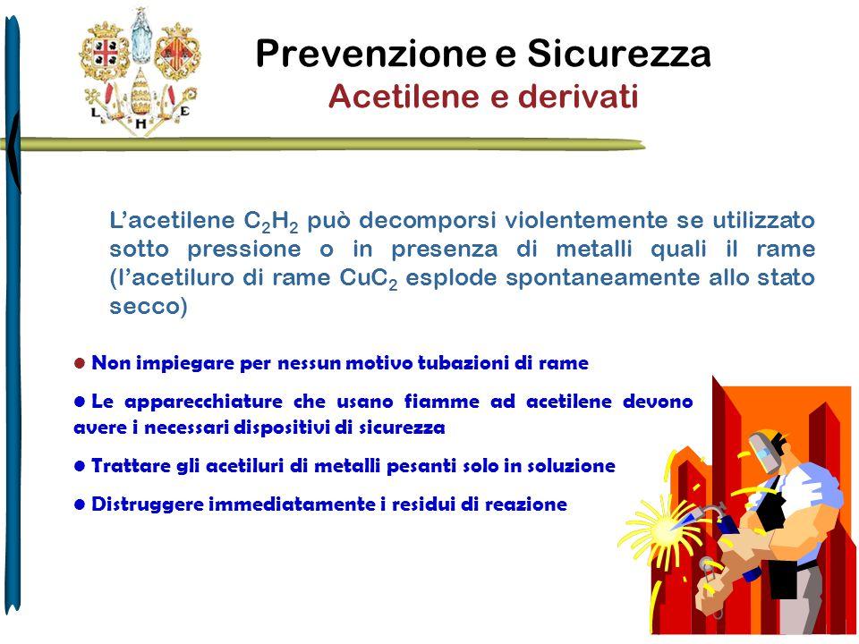 Prevenzione e Sicurezza Acetilene e derivati Non impiegare per nessun motivo tubazioni di rame Le apparecchiature che usano fiamme ad acetilene devono