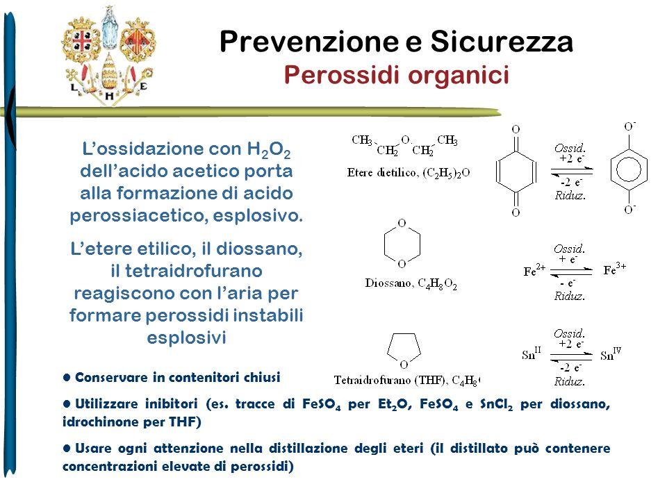 Prevenzione e Sicurezza Perossidi organici Conservare in contenitori chiusi Utilizzare inibitori (es. tracce di FeSO 4 per Et 2 O, FeSO 4 e SnCl 2 per