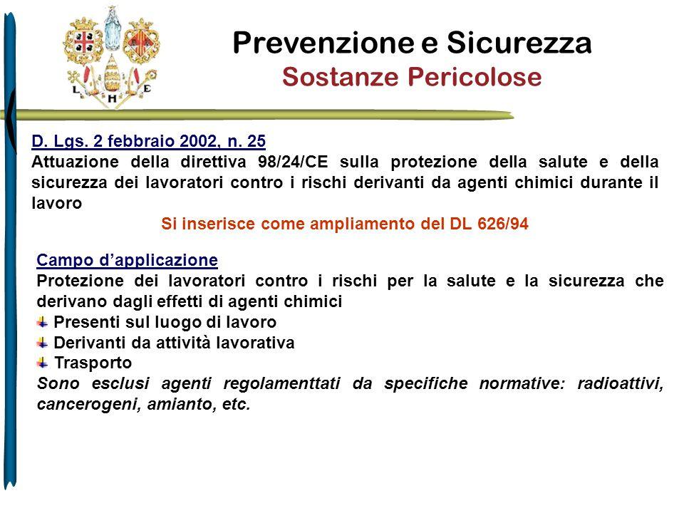 Prevenzione e Sicurezza Sostanze Pericolose D. Lgs. 2 febbraio 2002, n. 25 Attuazione della direttiva 98/24/CE sulla protezione della salute e della s