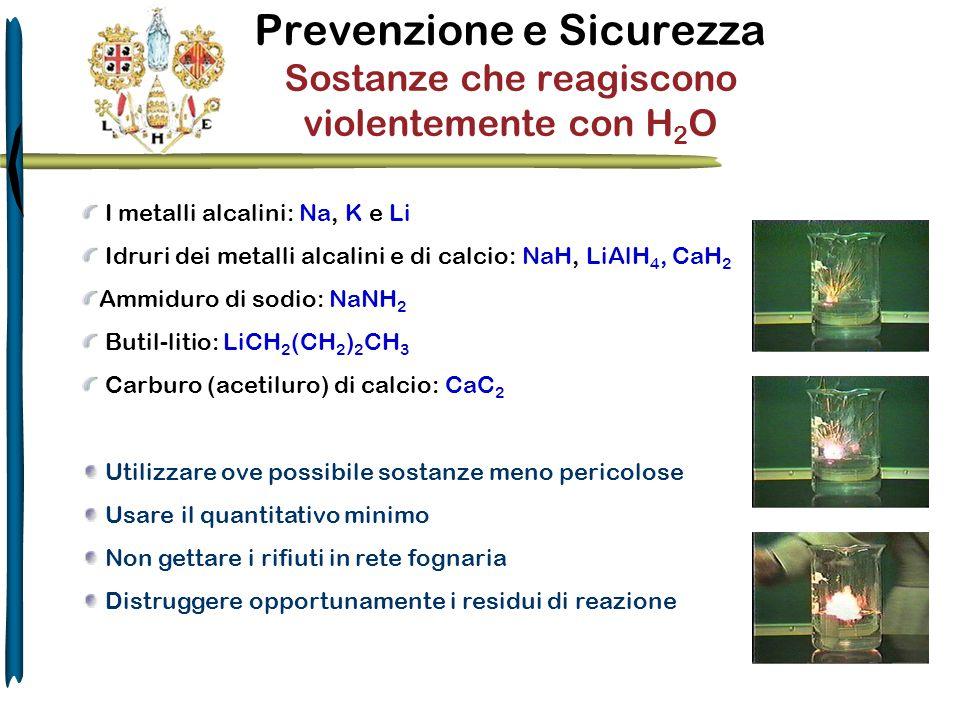 Prevenzione e Sicurezza Sostanze che reagiscono violentemente con H 2 O I metalli alcalini: Na, K e Li Idruri dei metalli alcalini e di calcio: NaH, L