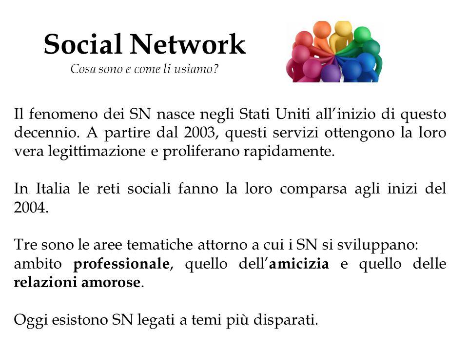 Social Network Cosa sono e come li usiamo? Il fenomeno dei SN nasce negli Stati Uniti all'inizio di questo decennio. A partire dal 2003, questi serviz