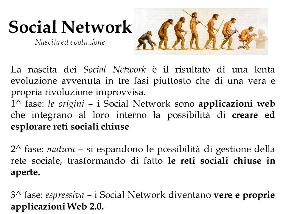 Social Network Nascita ed evoluzione La nascita dei Social Network è il risultato di una lenta evoluzione avvenuta in tre fasi piuttosto che di una vera e propria rivoluzione improvvisa.