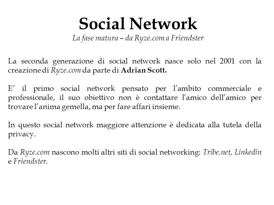 Social Network La fase matura – da Ryze.com a Friendster La seconda generazione di social network nasce solo nel 2001 con la creazione di Ryze.com da parte di Adrian Scott.