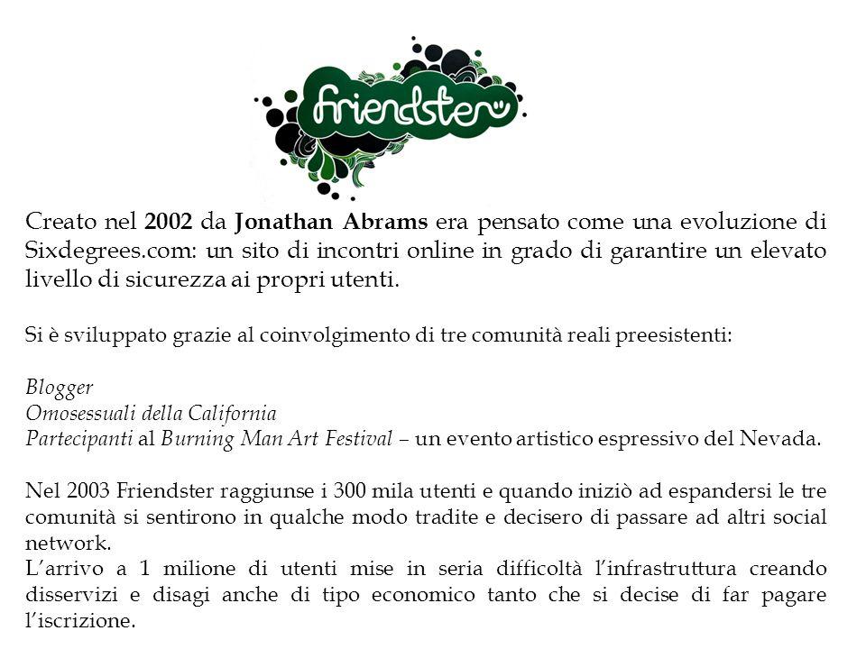 Creato nel 2002 da Jonathan Abrams era pensato come una evoluzione di Sixdegrees.com: un sito di incontri online in grado di garantire un elevato live
