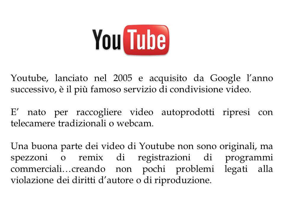 Youtube, lanciato nel 2005 e acquisito da Google l'anno successivo, è il più famoso servizio di condivisione video. E' nato per raccogliere video auto