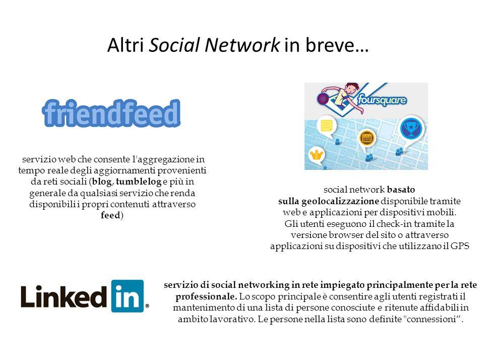Altri Social Network in breve… servizio web che consente l'aggregazione in tempo reale degli aggiornamenti provenienti da reti sociali ( blog, tumblel