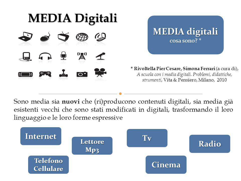 MEDIA Digitali Sono fluidi e molto più disponibili dei media tradizionali, si strutturano sempre più come ambienti, come schermi in cui la società si riflette, un nuovo territorio geografico, culturale, di esperienza e espressività per i soggetti.