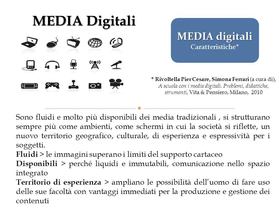 MEDIA Digitali Sono fluidi e molto più disponibili dei media tradizionali, si strutturano sempre più come ambienti, come schermi in cui la società si