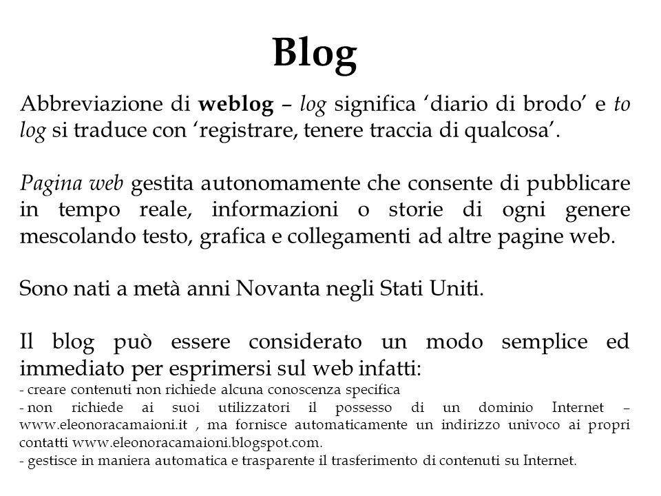 Blog Abbreviazione di weblog – log significa 'diario di brodo' e to log si traduce con 'registrare, tenere traccia di qualcosa'. Pagina web gestita au