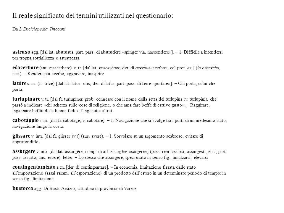 Il reale significato dei termini utilizzati nel questionario: Da L'Enciclopedia Treccani astru ṡ o agg.